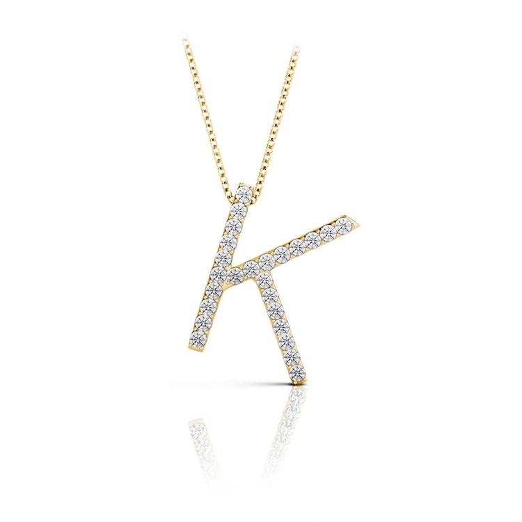 Diamond Initial Necklace - K | 04