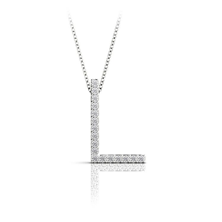 Diamond Initial Necklace - L   01