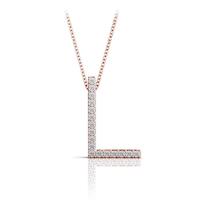 Diamond Initial Necklace - L   05
