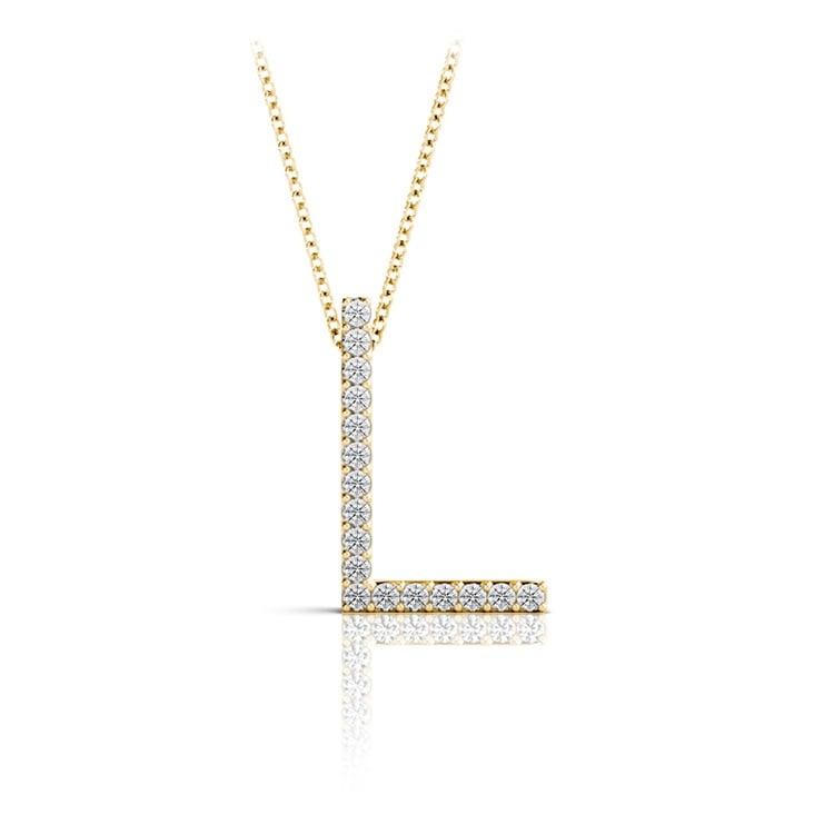 Diamond Initial Necklace - L   04