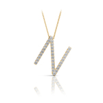 Diamond Initial Necklace - N   Thumbnail 04
