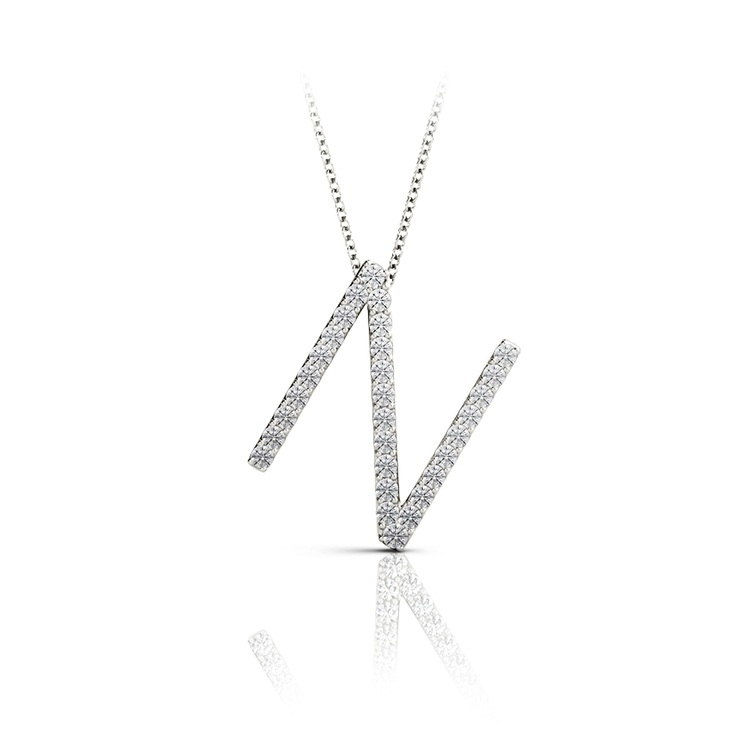Diamond Initial Necklace - N   01