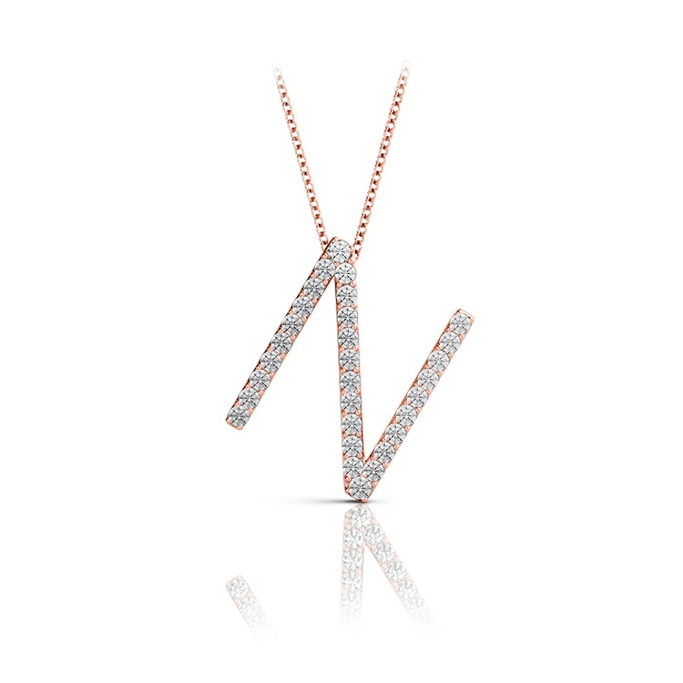 Diamond Initial Necklace - N   05