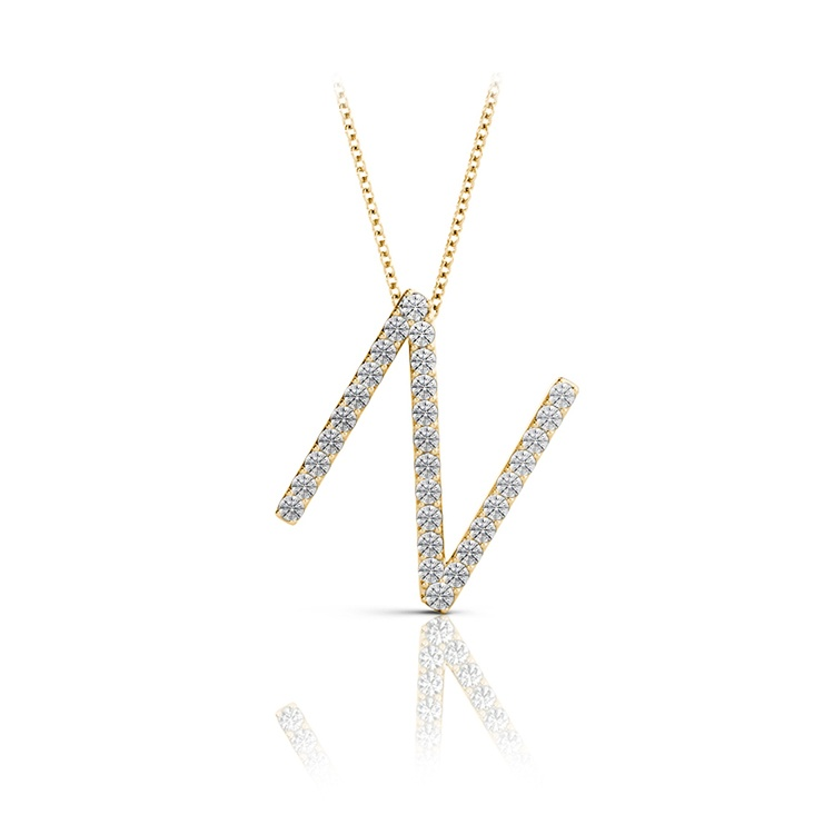 Diamond Initial Necklace - N   04