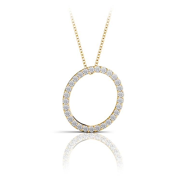Diamond Initial Necklace - O | 04