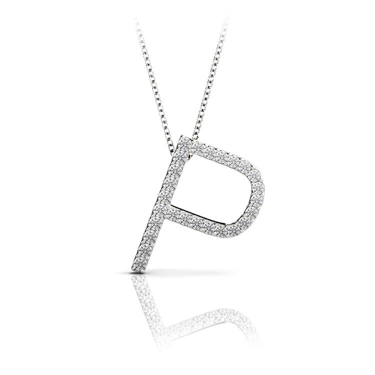 Diamond Initial Necklace - P | 01