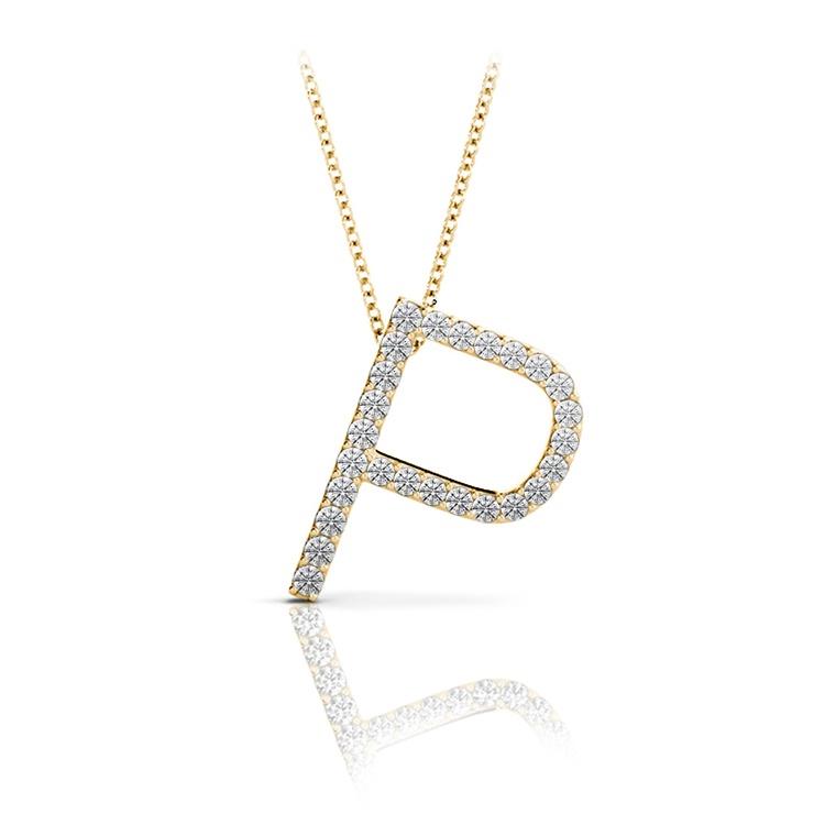 Diamond Initial Necklace - P | 04