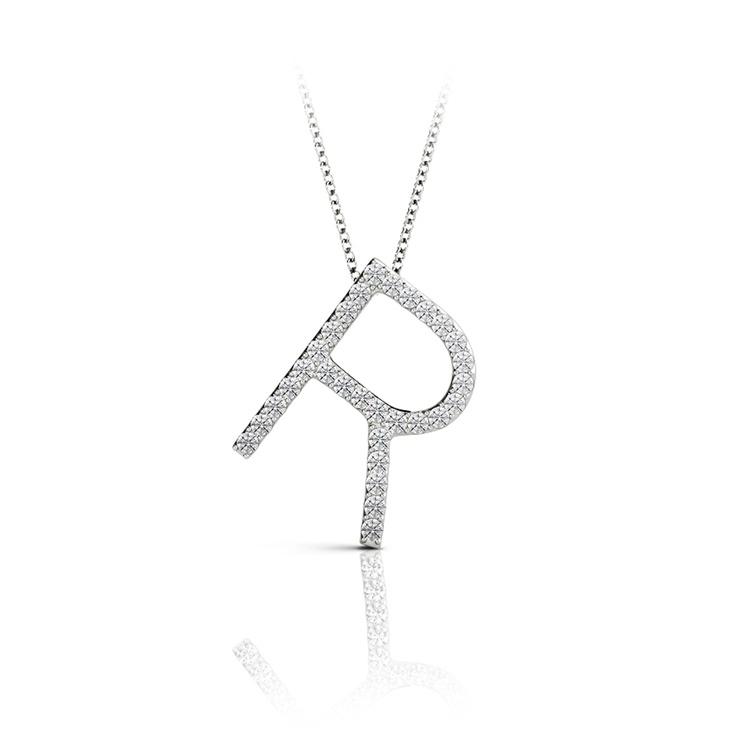 Diamond Initial Necklace - R   01