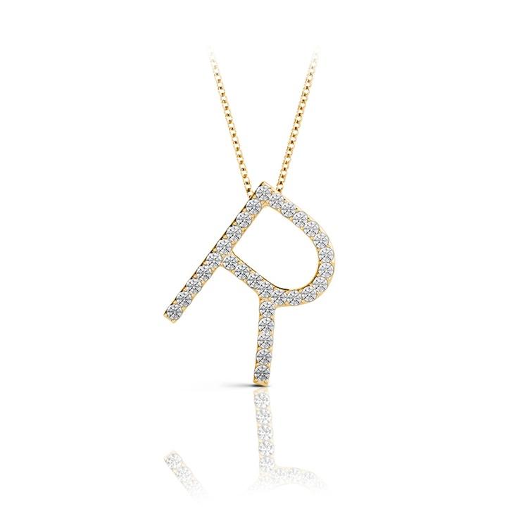Diamond Initial Necklace - R   04
