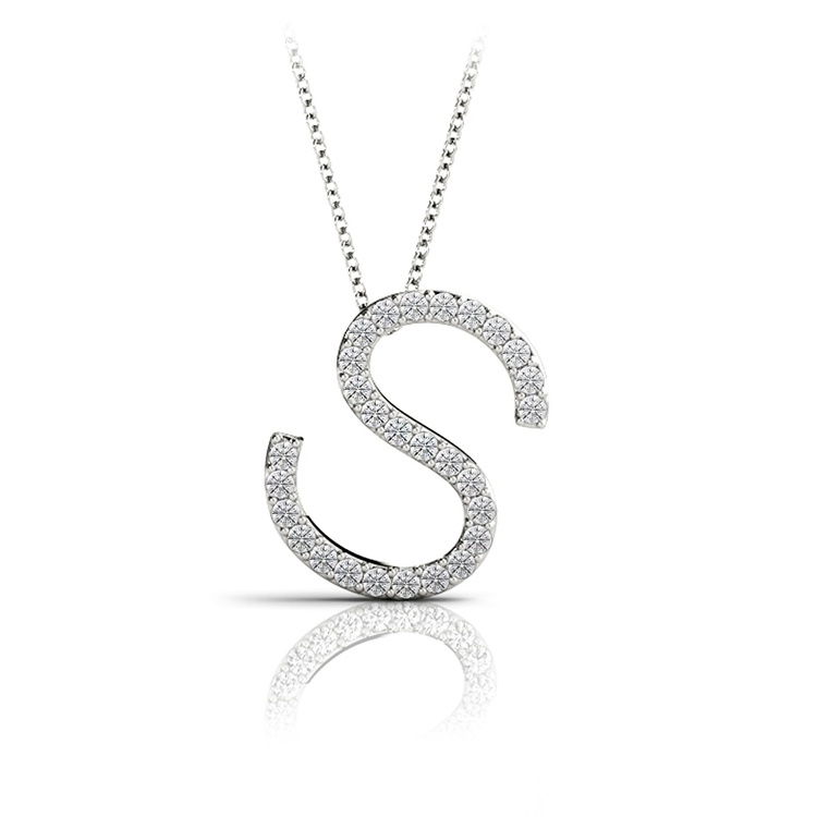 Diamond Initial Necklace - S   01