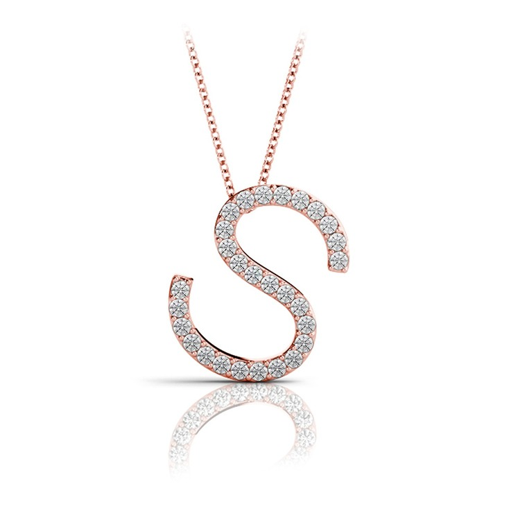 Diamond Initial Necklace - S   05