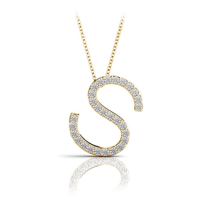 Diamond Initial Necklace - S   04