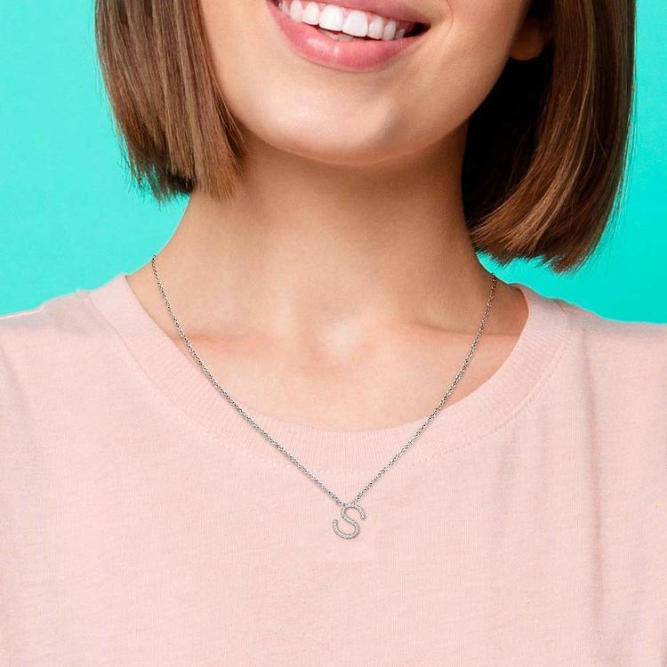 Diamond Initial Necklace - S   06