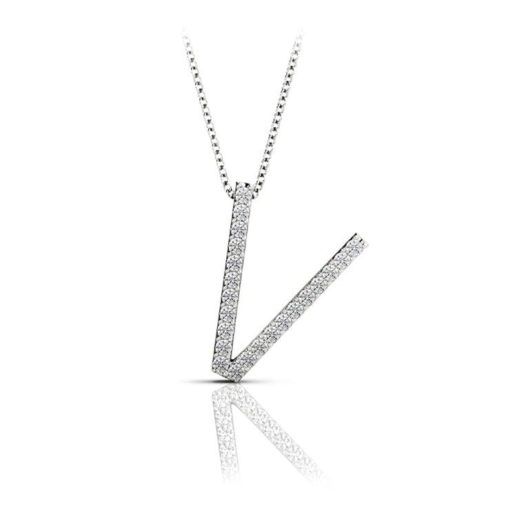 Diamond Initial Necklace - V | 01