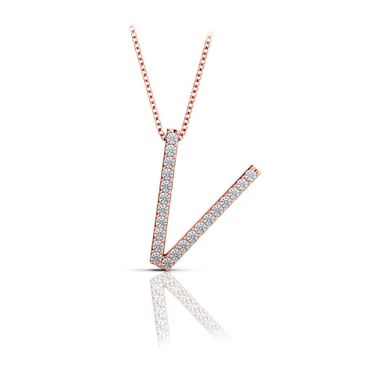 Diamond Initial Necklace - V | 05