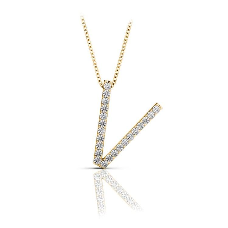 Diamond Initial Necklace - V | 04