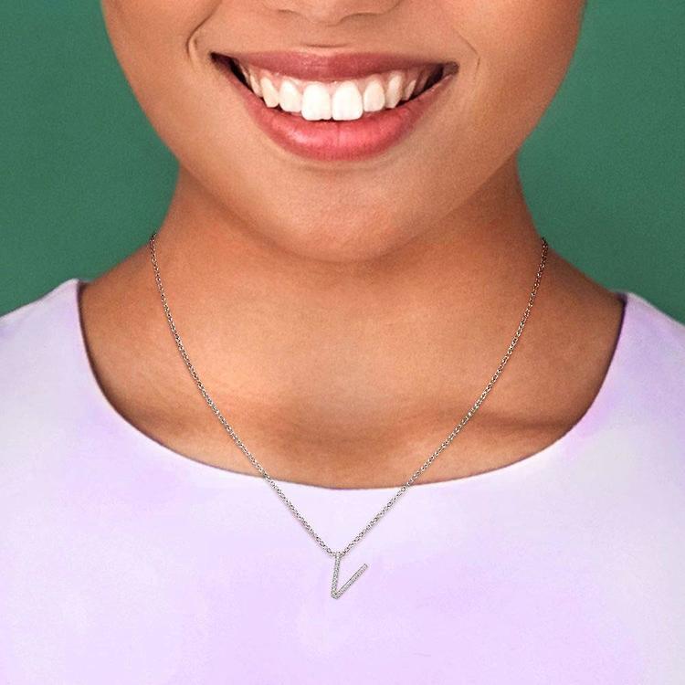 Diamond Initial Necklace - V | 06