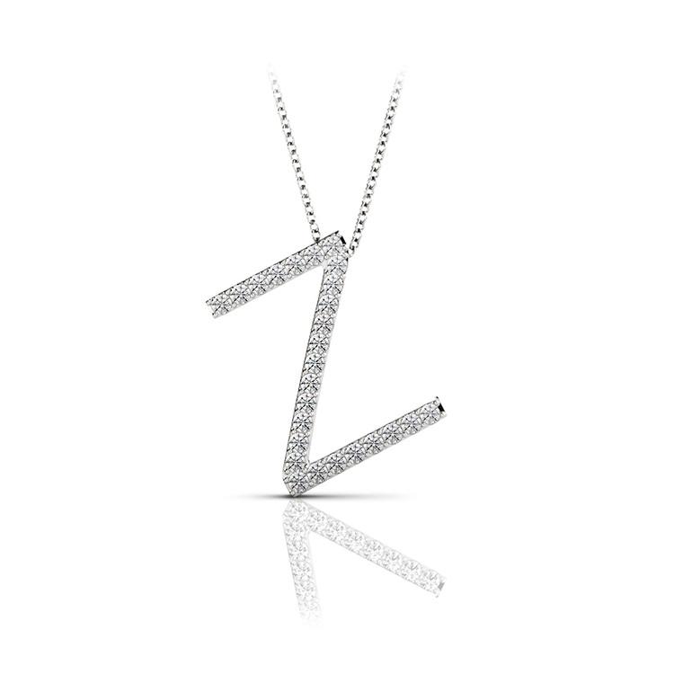 Diamond Initial Necklace - Z   01