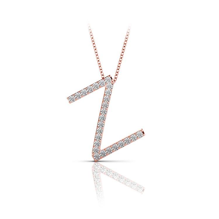 Diamond Initial Necklace - Z   05