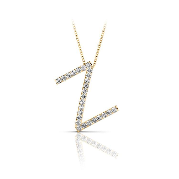 Diamond Initial Necklace - Z   04