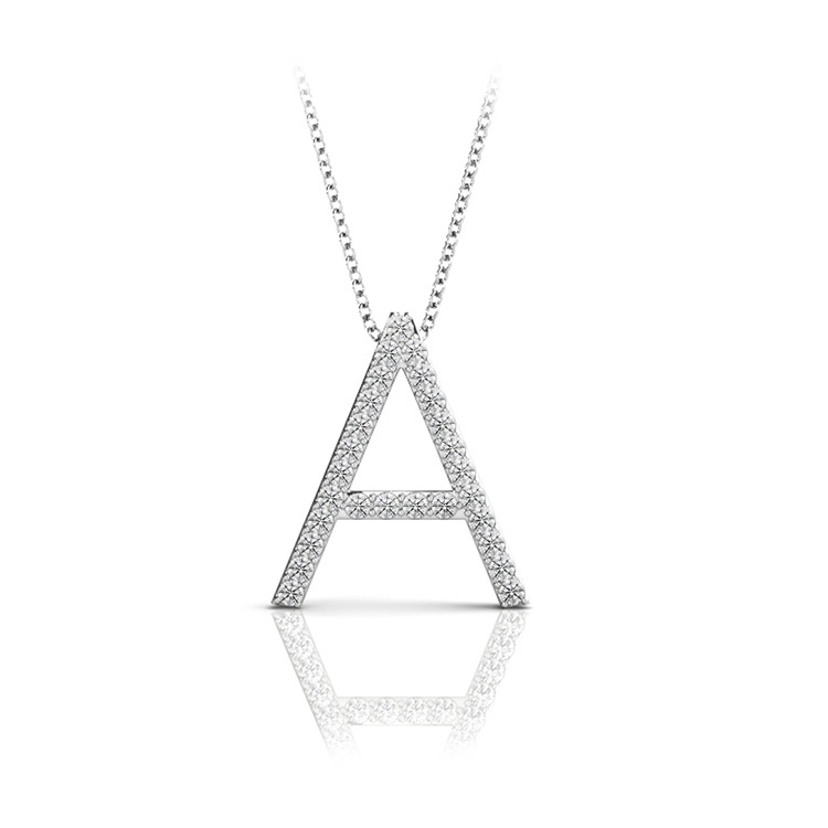 Diamond Initial Necklace - A | 01