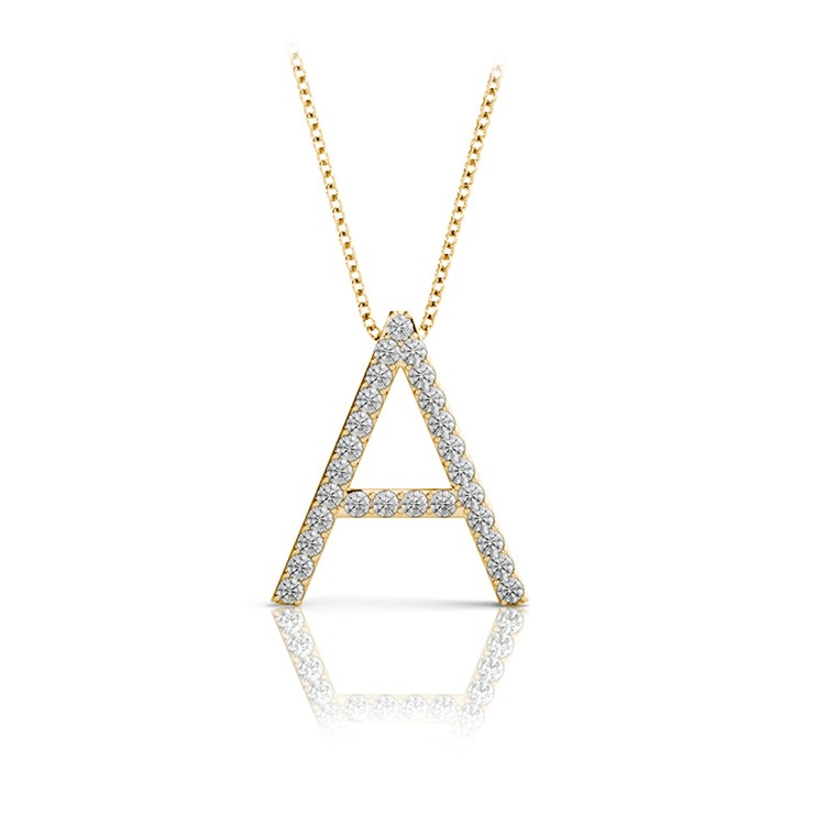 Diamond Initial Necklace - A | 04