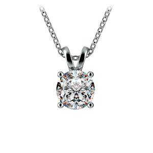 Round Diamond Solitaire Pendant in Platinum (1 ctw)