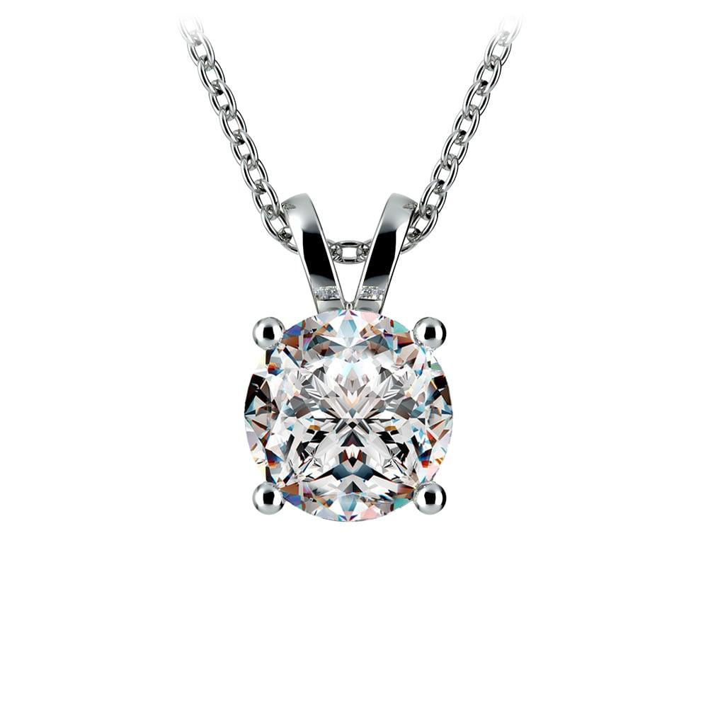 Round Diamond Solitaire Pendant In Platinum 2 Ctw