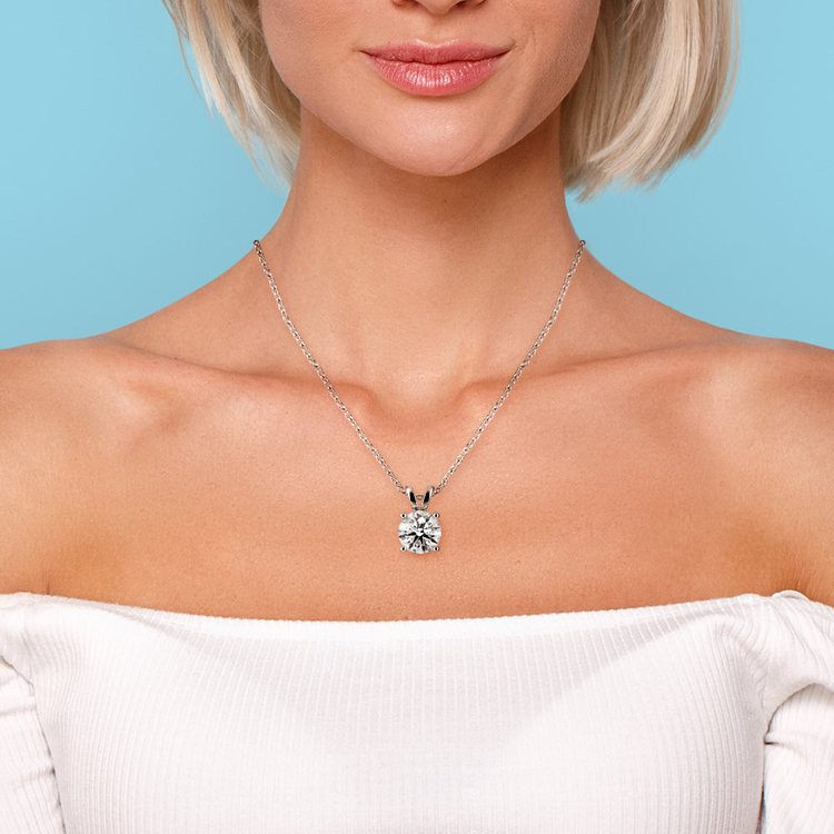 Round Diamond Solitaire Pendant in Platinum (3 ctw) | 04