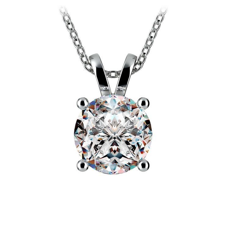 Round Diamond Solitaire Pendant in Platinum (3 ctw) | 01