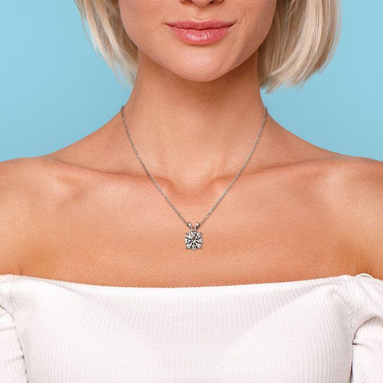 Round Diamond Solitaire Pendant in White Gold (1 1/2 ctw) | 04