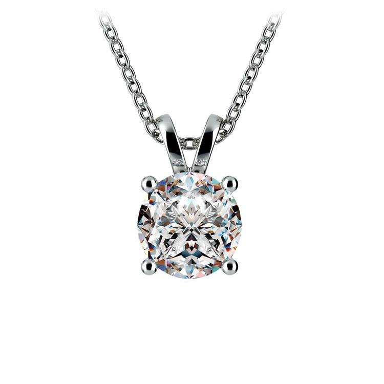 Round Diamond Solitaire Pendant in White Gold (1 1/2 ctw) | 01