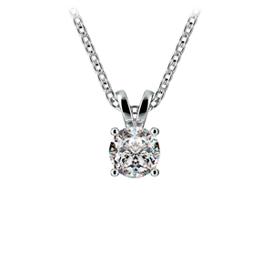 Round Diamond Solitaire Pendant in White Gold (1/2 ctw)