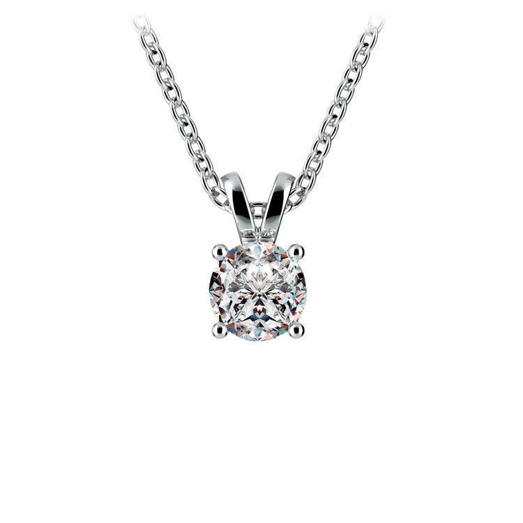 Round Diamond Solitaire Pendant in White Gold (1/2 ctw) | 01