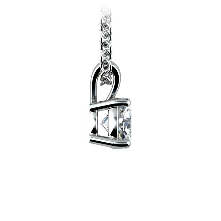 Round Diamond Solitaire Pendant in White Gold (1/2 ctw) | 02