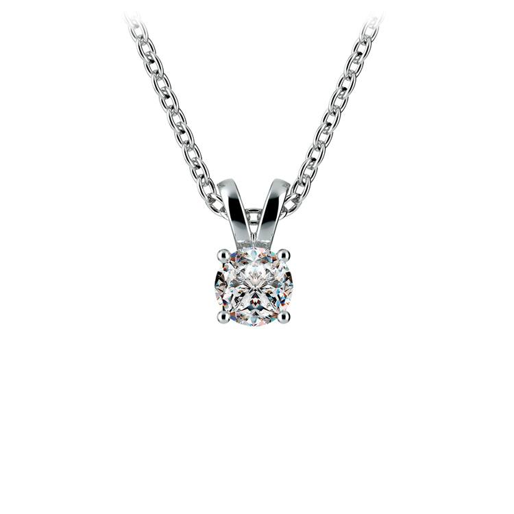 Round Diamond Solitaire Pendant in White Gold (1/3 ctw) | 01
