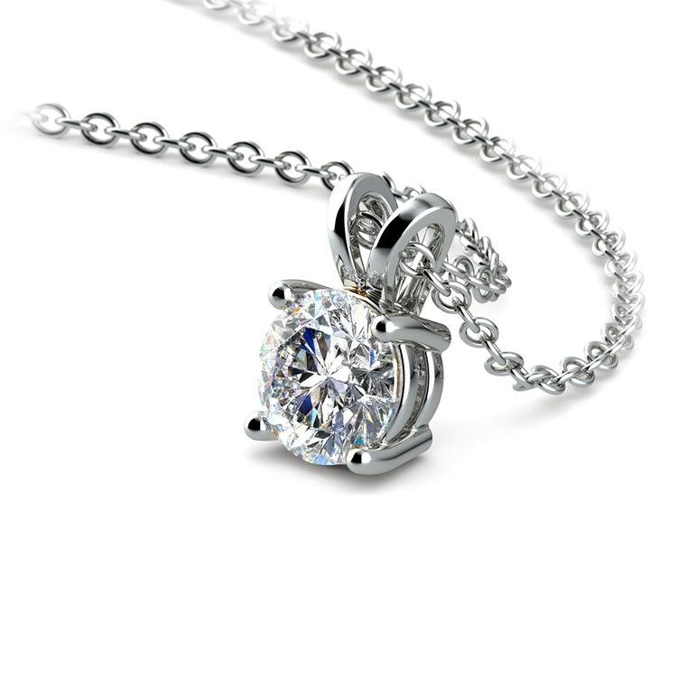 Round Diamond Solitaire Pendant in White Gold (1/3 ctw) | 03