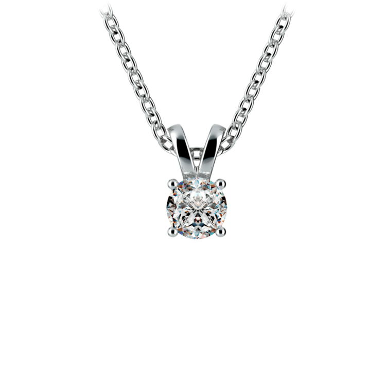 Round Diamond Solitaire Pendant in White Gold (1/4 ctw) | 01