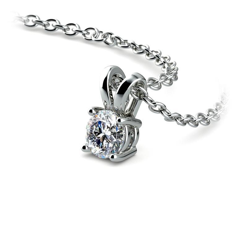 Round Diamond Solitaire Pendant in White Gold (1/4 ctw) | 03