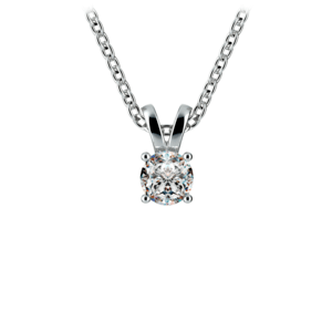 Round Diamond Solitaire Pendant in White Gold (1/5 ctw)