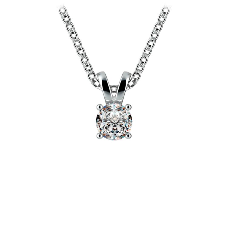 Round Diamond Solitaire Pendant in White Gold (1/5 ctw) | 01
