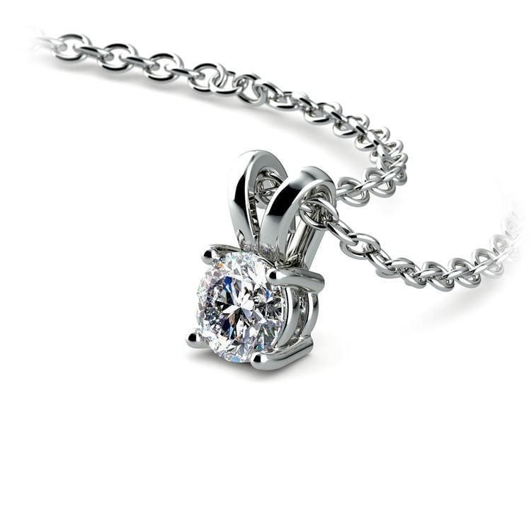Round Diamond Solitaire Pendant in White Gold (1/5 ctw) | 03