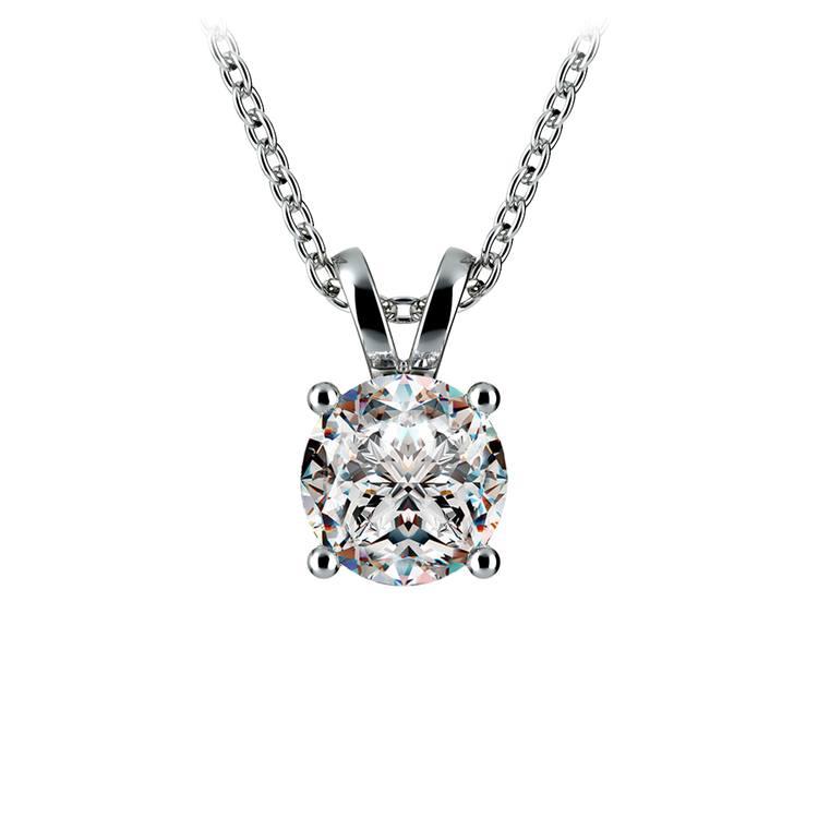 Round Diamond Solitaire Pendant in White Gold (1 ctw) | 01