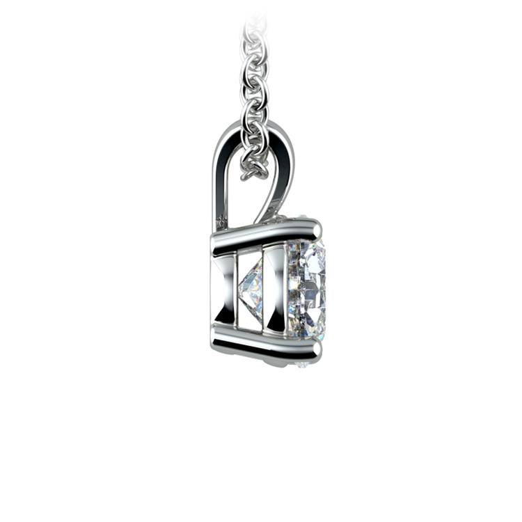 Round Diamond Solitaire Pendant in White Gold (1 ctw) | 02