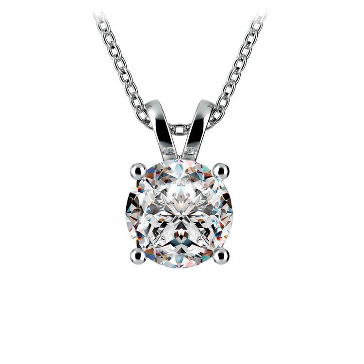 Round Diamond Solitaire Pendant in White Gold (2 ctw) | 01