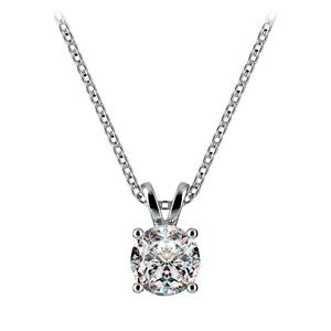 Round Diamond Solitaire Necklace in White Gold (3/4 ctw)