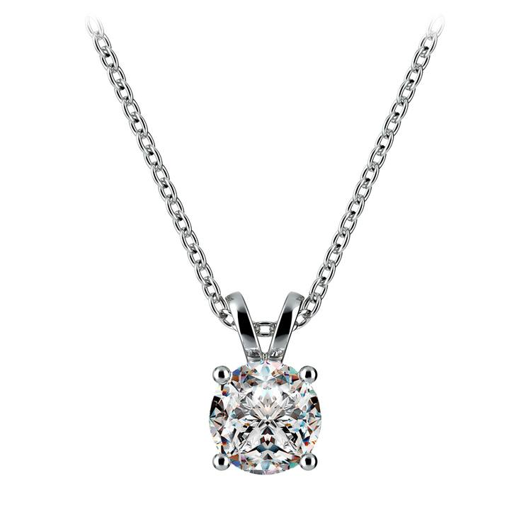 Round Diamond Solitaire Pendant in White Gold (3/4 ctw) | 01