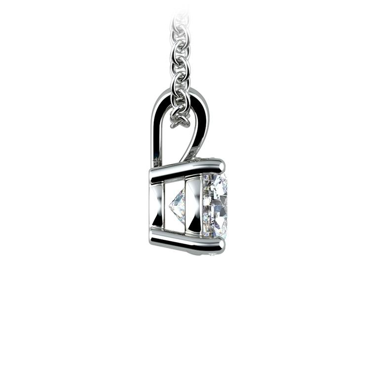 Round Diamond Solitaire Pendant in White Gold (3/4 ctw) | 02