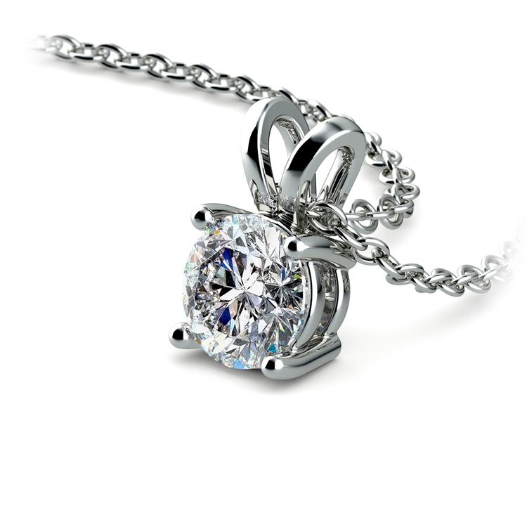 Round Diamond Solitaire Pendant in White Gold (3/4 ctw) | 03