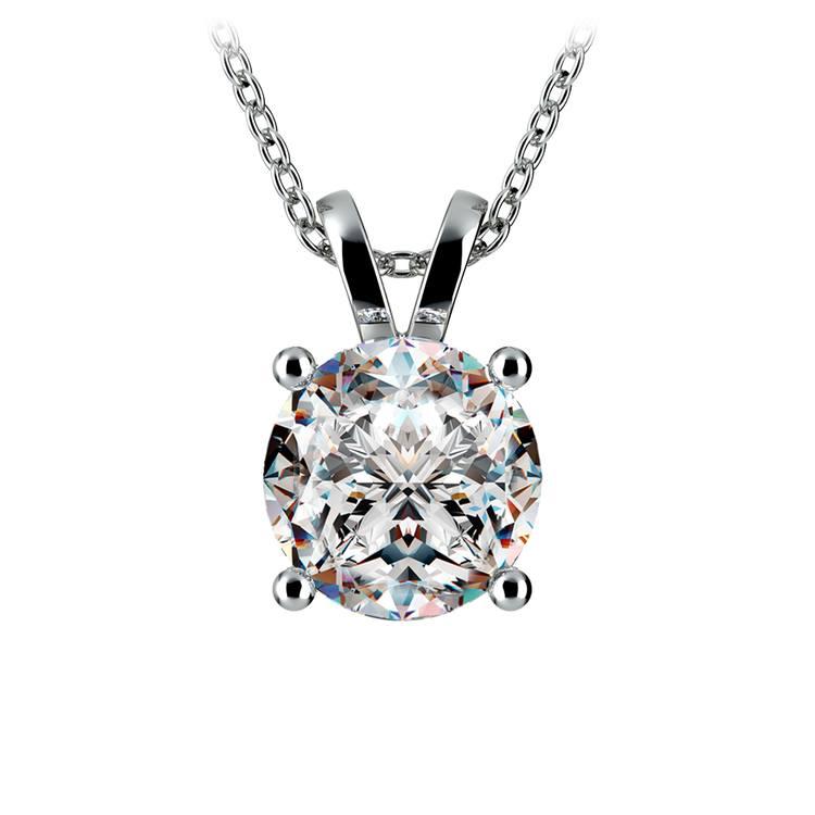 Round Diamond Solitaire Pendant in White Gold (3 ctw) | 01